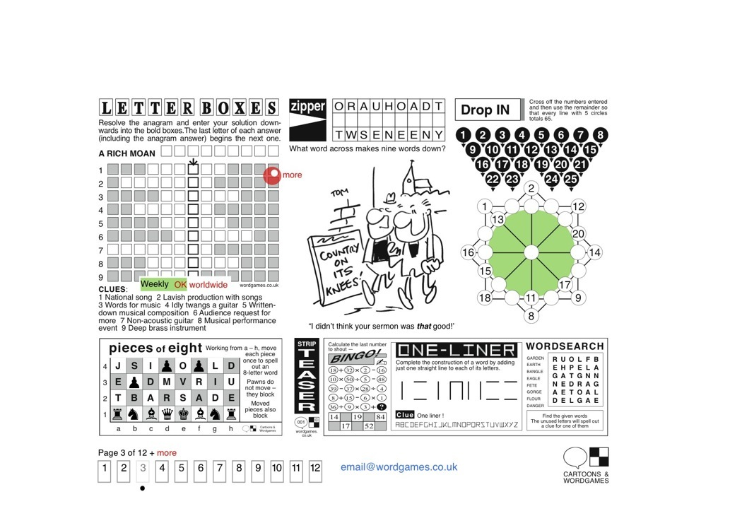 Letterboxes • Puzzles: Chess, Stripteaser • Cartoon