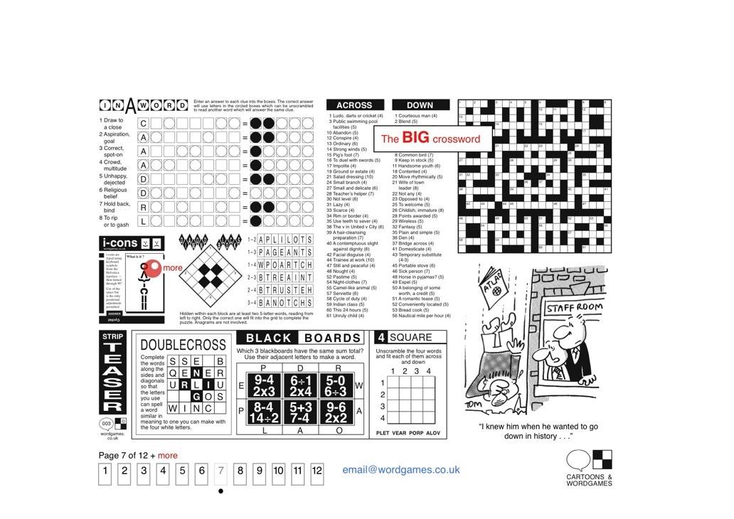 Big Crossword • Puzzles: Emoticons • Cartoon