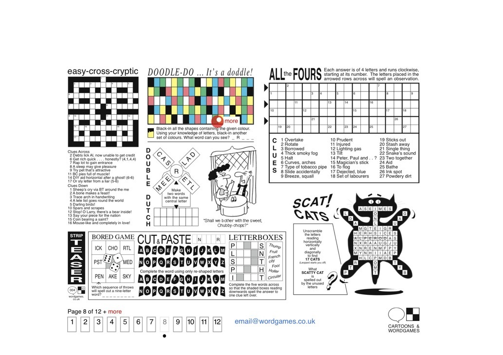 Cryptic Crossword • Puzzles: Doodle-do • Cartoon