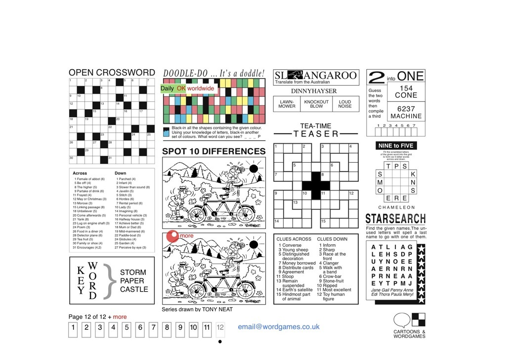 Crosswords • Puzzles • Spot the Difference Cartoons